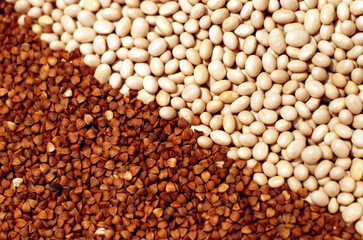 Raw white beans and buckwheat diagonal