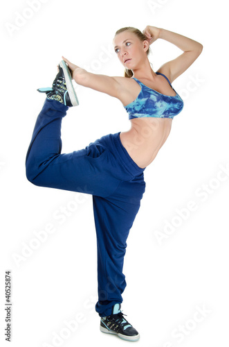 The girl the trainer on dances isolated on white  background