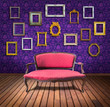 vintage luxury armchair and frame in purple wallpaper room