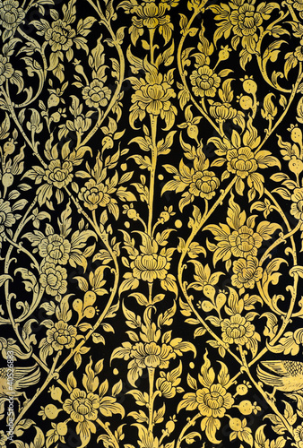 Ancient flower art in traditional Thai style