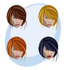 Mujer peinado y colores