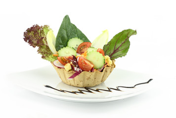 Vegetables salad in the waffle bowl