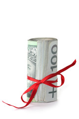 Rolled money on white background