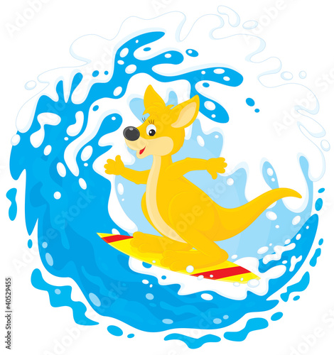 Kangaroo surfer riding a big ocean wave