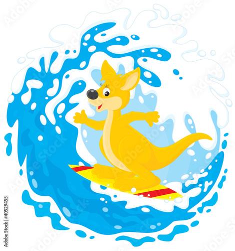 Kangaroo surfer riding a big ocean wave
