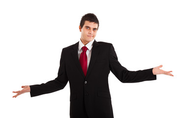 Clueless businessman against a white background