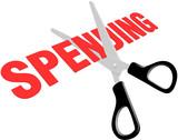 Scissors cut government business spending poster