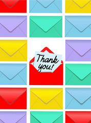 Thank You note open colorful envelopes