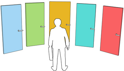 Business person choose doors choices decision