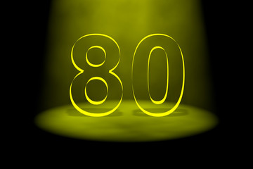 Number 80 illuminated with yellow light