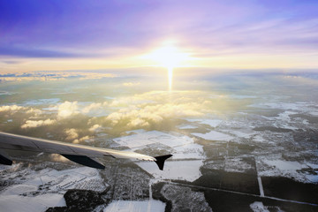 Window aircraft view. Mowsow
