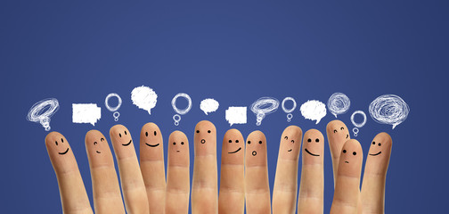 Group of finger smileys with social chat sign and speech bubbles
