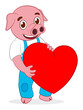 cartoon pig with heart