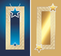 Two golden frames with shining stars