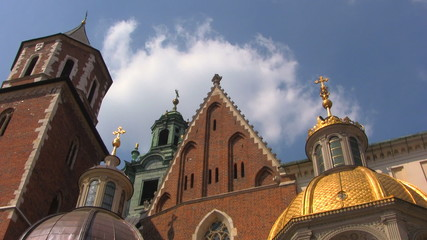 Sigmund Cathedral at Wawel Castle with clouds, Krakow