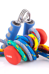 fitness dumbbell, hand grip  and colorful strings