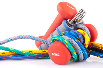 fitness dumbbells hand grip  and colorful strings
