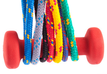 fitness dumbbell and colorful strings