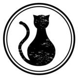 Icono de gato negro poster
