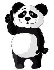 Panda cartoon waving hand