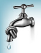 Water tap tied in knot   Vector illustration