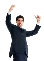 Happy gesturing businessman, isolated