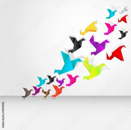 Deurstickers Geometrische dieren origami flying