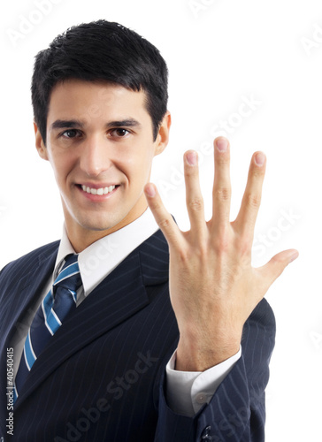 Businessman showing five fingers, isolated