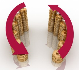 3d diagram of golden coins with a arrow on a white