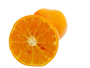 sliced and whole orange isolated on white background