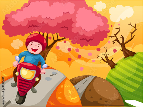 Foto op Canvas Motorfiets landscape cartoon boy riding motorcycle