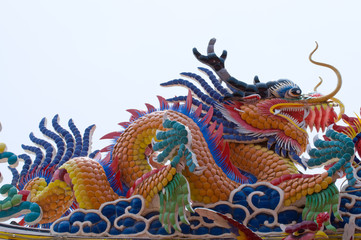 The Dragon status on roof of joss house