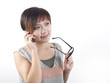 Asian Chinese Woman answering phone call