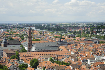 european skyline of heidelberg city ,aerial view from the castle