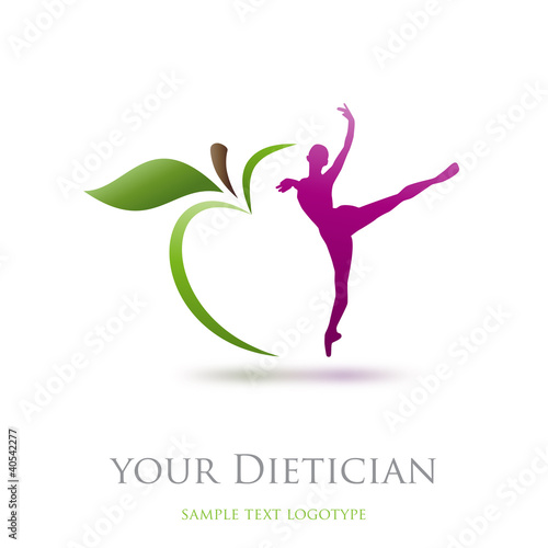 Logo diet, dietician. Dancer and green apple # Vector