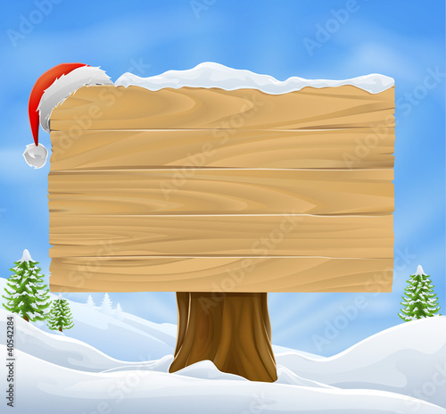 Christmas Santa hat sign background