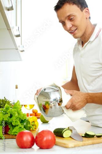 Man with pan