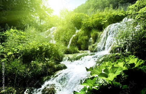 waterfall in deep forest - 40542809