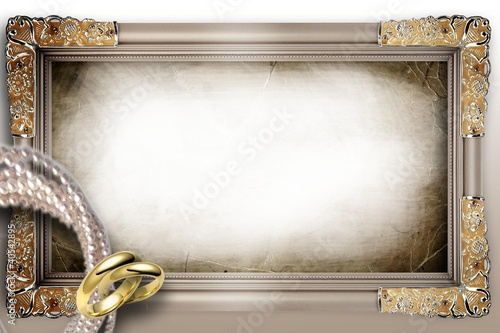 Wedding Frame with Wedding Rings © digart