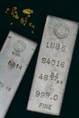 Homestake Mining Company Silver Bullion Bars & Gold Nuggets