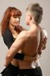 couple heterosexual topless with jeans detail studio shot