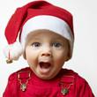 Erschrockenes Baby zu Weihnachten