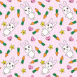 Kawaii background with cute bunnies