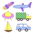 Set of cartoon vector transport stickers