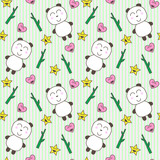 Kawaii background with cute pandas poster