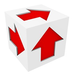 Abstract white cube with red arrows on its faces