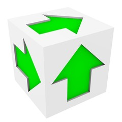 Abstract white cube with green arrows on its faces