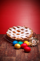 Neapolitan Pastiera And Colorful Easter Eggs