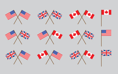friendship flags with handles vector illustration