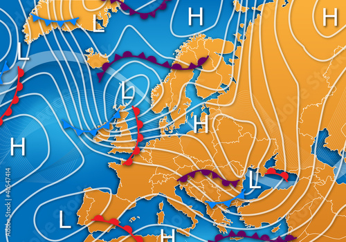 European Vector Weather Map